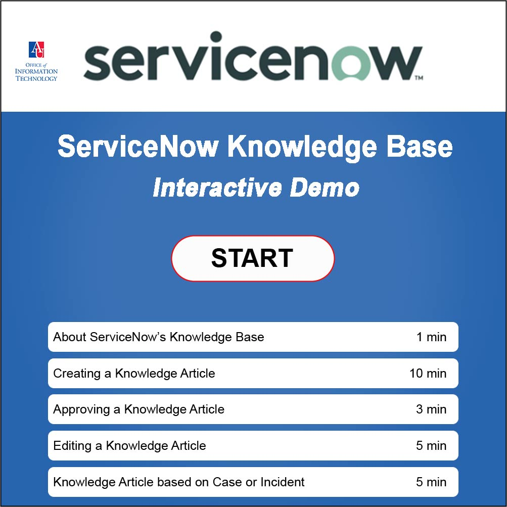 Title frame for ServiceNow Knowledge Base Interactive Training